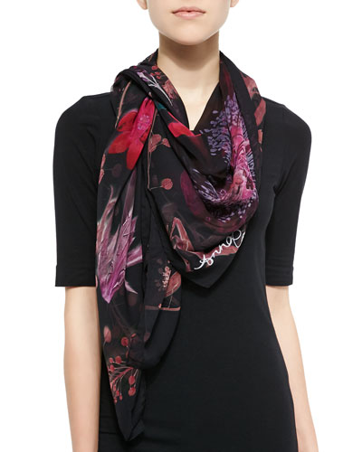 Pressed Flower Print Silk Scarf, Black/Pink