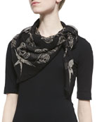 Feather and Skull Print Silk Scarf, Black/White
