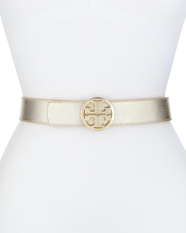 Reversible Logo Leather Belt, Gold/Camel