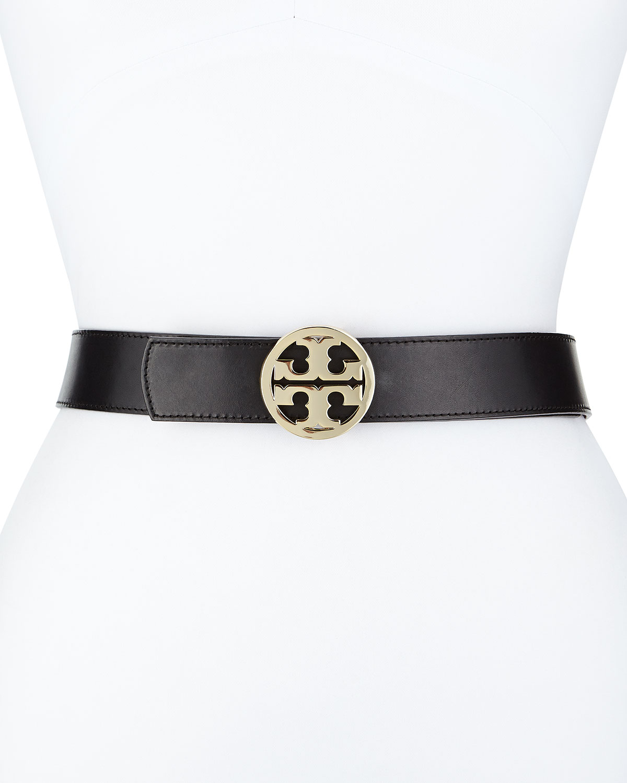 Reversible Classic Logo Leather Belt, Black/Luggage