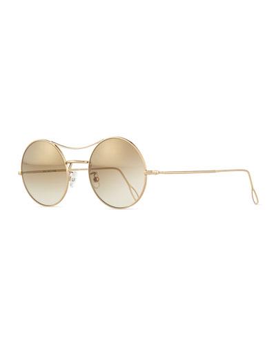 Ros Round Mirror Sunglasses, Gold