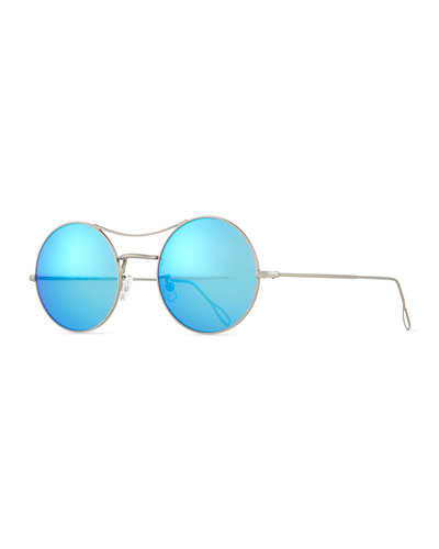 Ros Round Mirror Sunglasses, Silver/Blue