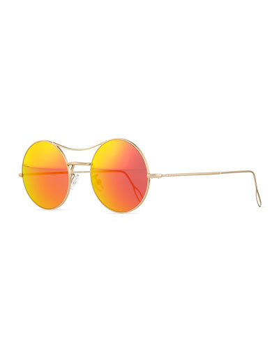 Ros Round Mirror Sunglasses, Gold/Orange
