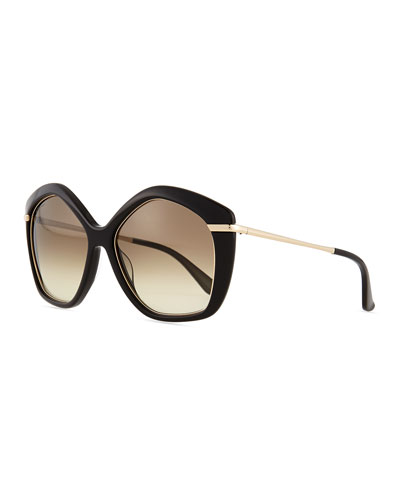 Pentagon Butterfly Sunglasses, Black