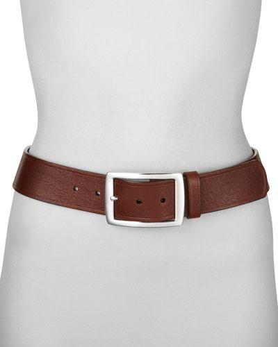 Contour Leather Jean Belt, Tan