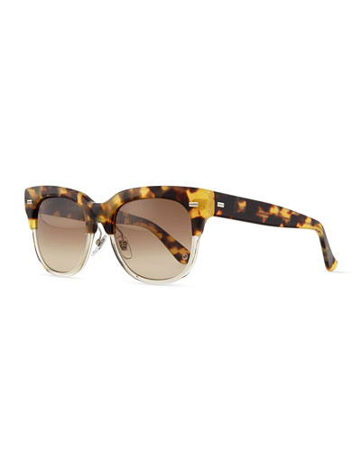 Square Half-Rim Sunglasses, Havana/Clear