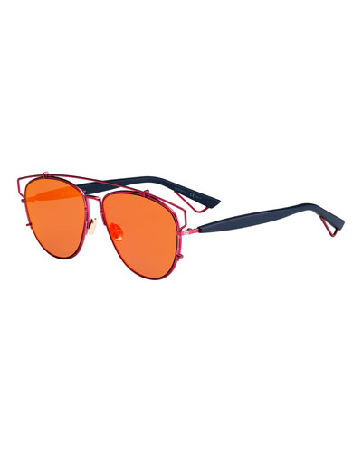 Technologic Cutout Aviator Sunglasses, Silvertone/Black