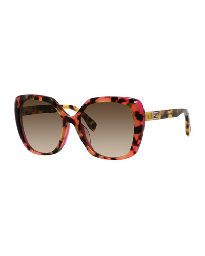Universal-Fit Havana Square Sunglasses, Brown/Pink