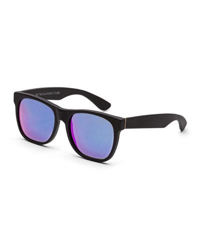 Classic Mirrored-Lens Sunglasses, Black