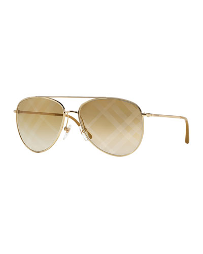 Check-Print Aviator Sunglasses, Gold