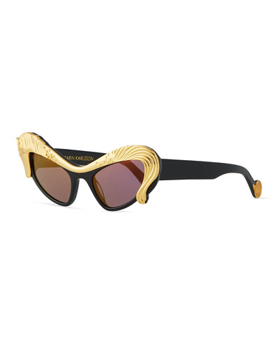 24k Gold Horse Cat-Eye Sunglasses, Black
