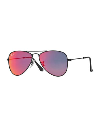 Children's Mirrored Aviator Sunglasses, Black/Red