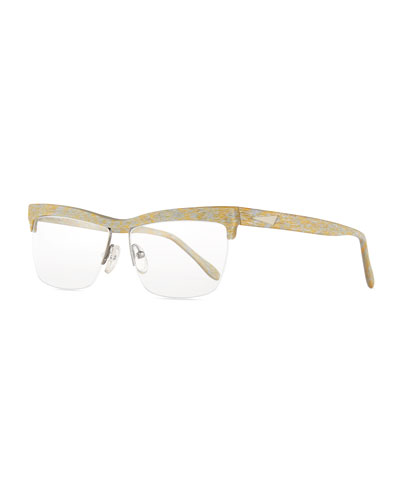Oslo Square Semi-Rimless Fashion Glasses, Gold