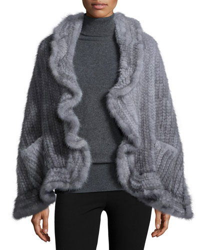 Mink Fur Knit Wrap w/Pockets