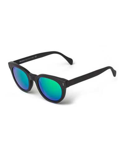 Greenport Mirrored-Lens Sunglasses, Black/Green