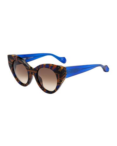 Fanny Cat-Eye Sunglasses, Blue/Yellow