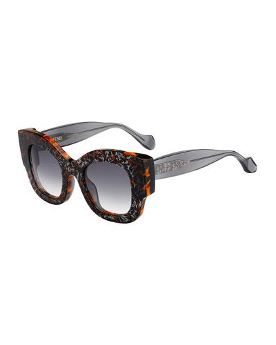 Silvy Square Geo-Print Sunglasses, Orange/Gray