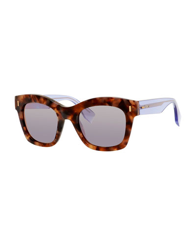 Havana Square Sunglasses, Beige