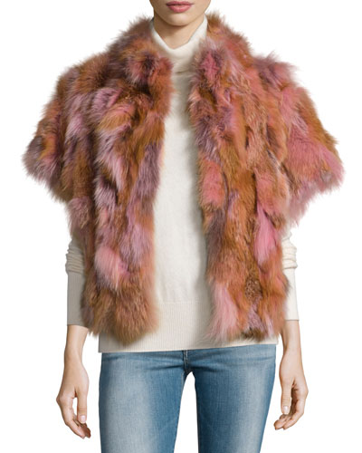 Fox Fur Batwing Vest, Blush