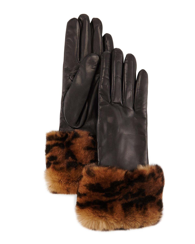 Animal-Print Fur-Trimmed Leather Gloves, Black
