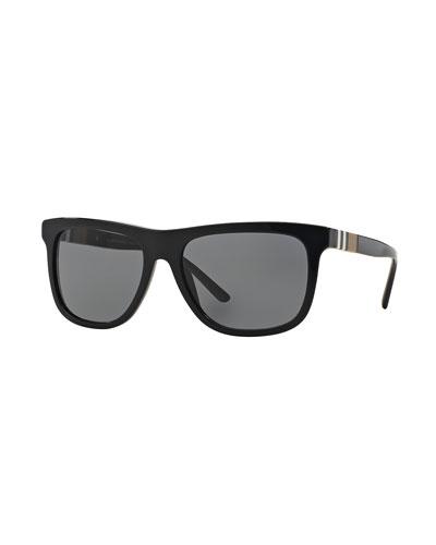 Check-Temple Rectangular Sunglasses, Black
