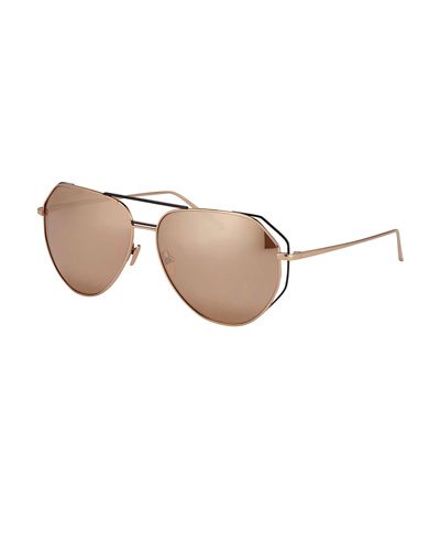 Double-Rim Angled Aviator Sunglasses, Rose-Tone