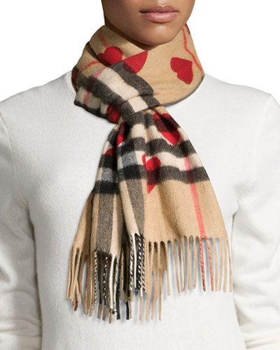 Cashmere Heart and Check Print Scarf