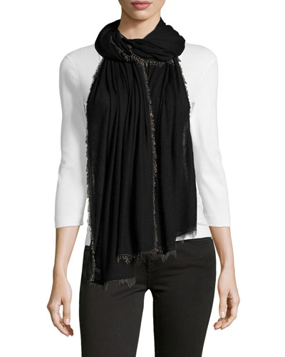 Chain-Trimmed Scarf, Black