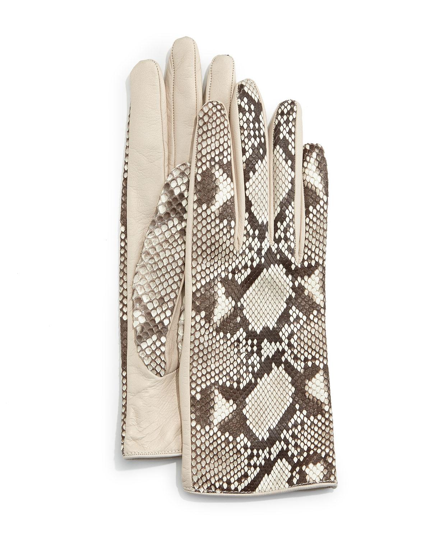 Python/Napa Leather Gloves, Roccia