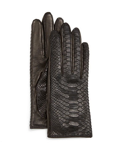 Python/Napa Leather Gloves, Black/Navy