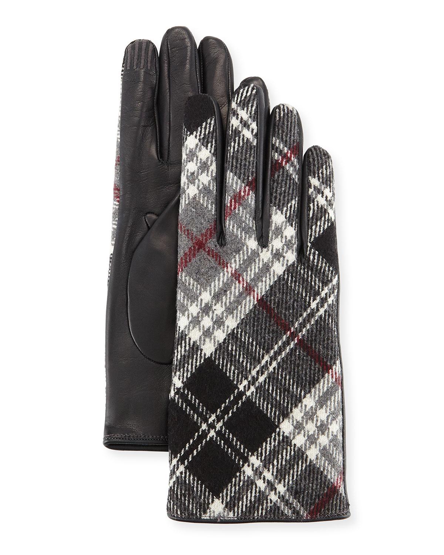 Plaid Cashmere-Back Leather Gloves