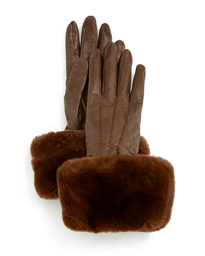 Napa Leather Gloves w/Fur Cuffs, Tortora