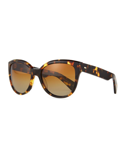 Abrie Plastic Cat-Eye Sunglasses, Tortoise