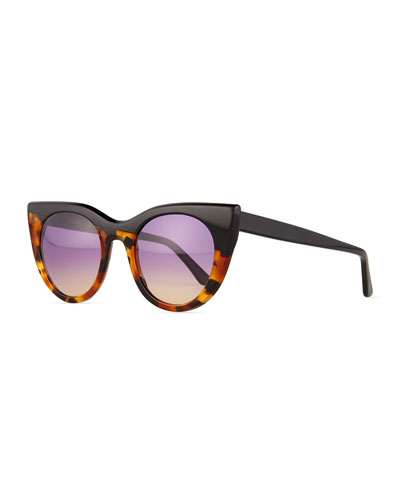 Angel Flared-Temple Sunglasses, Black/Tortoise