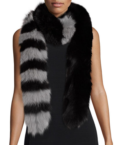 Candy Cane Fox Fur Scarf, Black/Gray