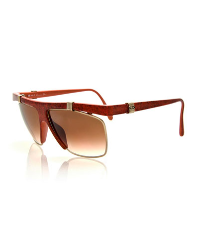 Vintage Wrap Sunglasses, Silver-Gold/Red
