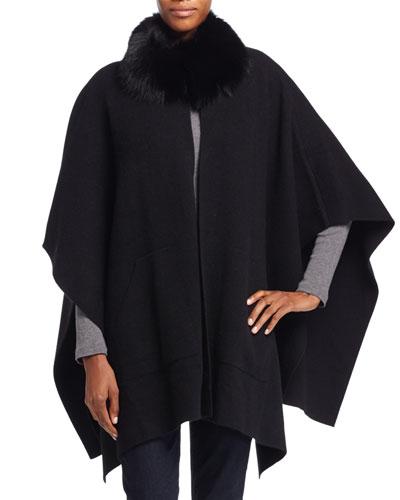 Fur-Trim Cashmere Poncho, Black