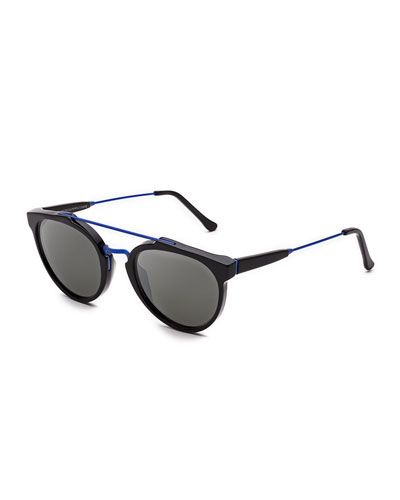 Giaguaro Double-Bridge Sunglasses, Black/Blue