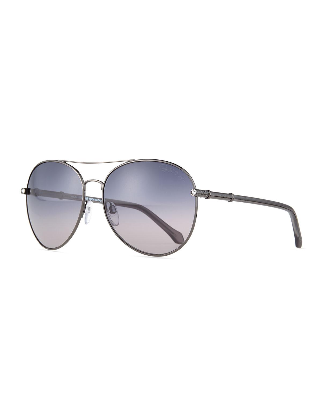 Metal Aviator Sunglasses, Anthracite