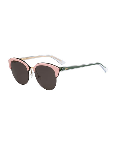 Run Capped Cat-Eye Sunglasses, Black/Pink