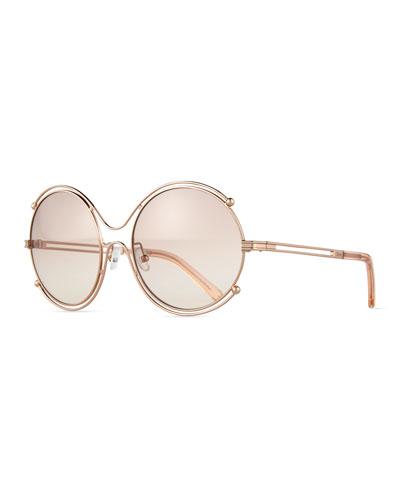 Chloe 79s Gold Frame Sunglasses : Rose Gold Eyewear Neiman Marcus