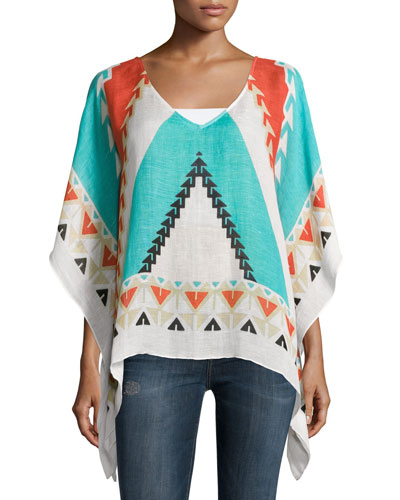 Southwestern-Print Scarf Top, Turquoise/Multicolor