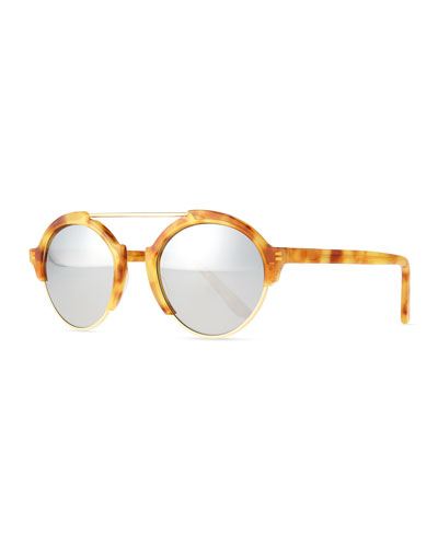 Milan III Round Sunglasses, Amber/Silver