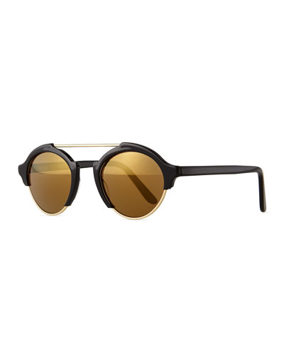 Milan IV Round Sunglasses, Black