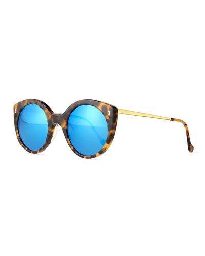 Palm Beach Cat-Eye Sunglasses, Tortoise/Blue