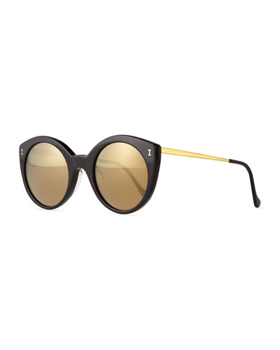 Palm Beach Mirrored Sunglasses, Black/Gold