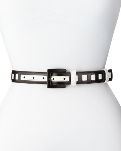 Leather Colorblock Belt, Black/White