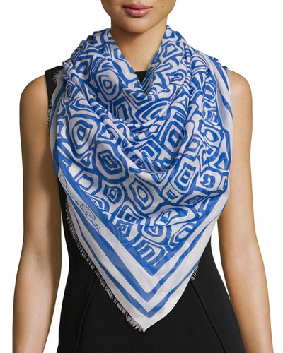 Woven Abstract Scarf, Marine Blue