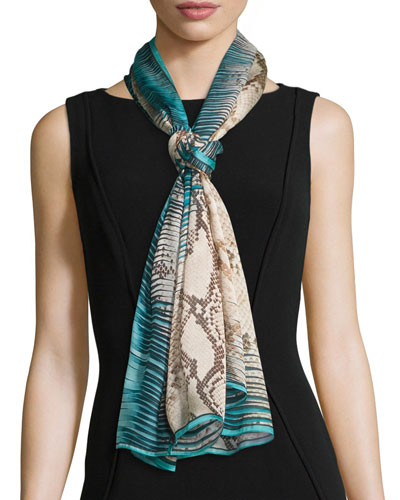 Snake & Static Printed Silk Stole, Turquoise