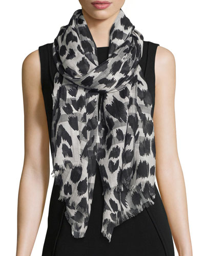 Giant Check Animal-Print Gauze Scarf, Natural White